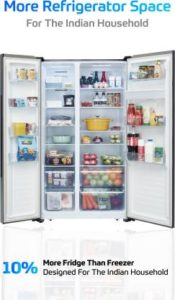 AmazonBasics 564 L Frost Free Side-by-Side Refrigerator with Water Dispenser (Black Glass Door) inner