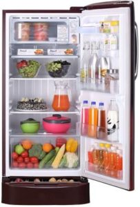 LG 215 L Direct Cool Single Door 5 Star Refrigerator with Base Drawer inner