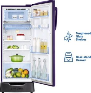 Samsung 192 L Direct Cool Single Door 4 Star Refrigerator with Base Drawer inner