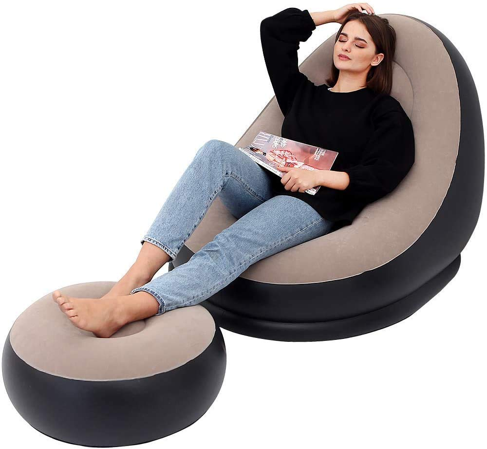 Mixen comfortable relax recliner inflatable lazy sofa chair, beanbag lounge chair inflatable living room party sofa chair set