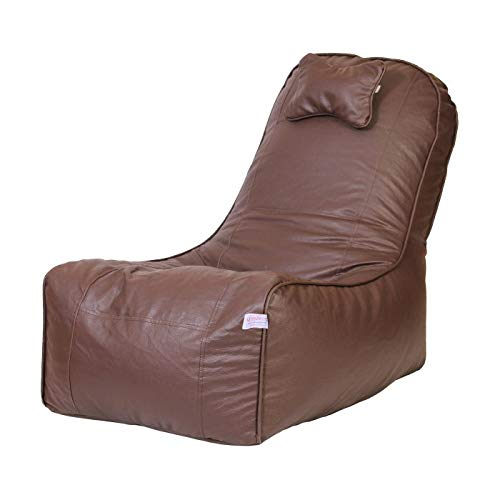 ORKA Classic Headrest Standard Size Video Rocker Bean Bag with Footstool Filled with Beans
